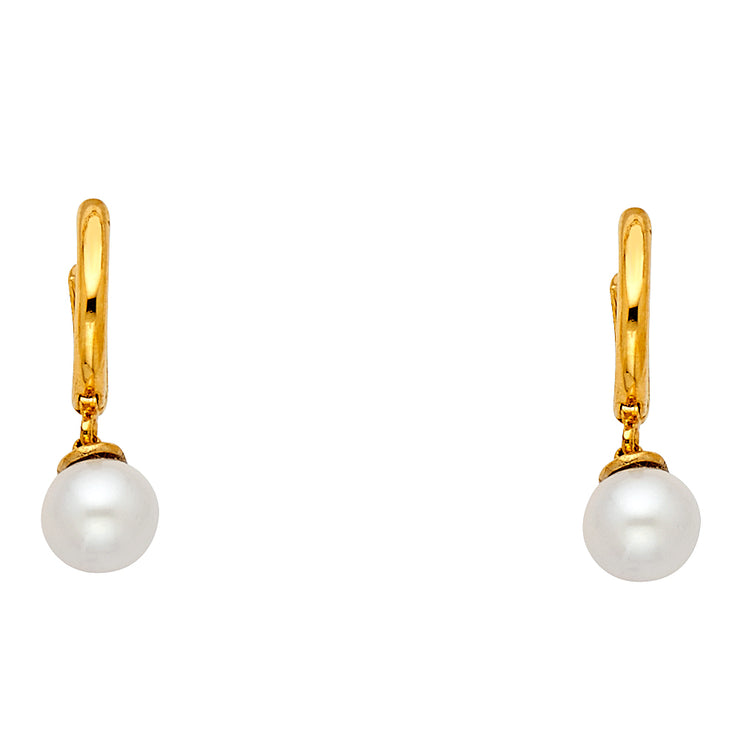 14K Gold Hanging Earrings with 6mm Freshwater Cultured Pearl