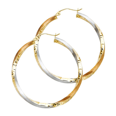 14K Gold 3mm Twisted Hoops