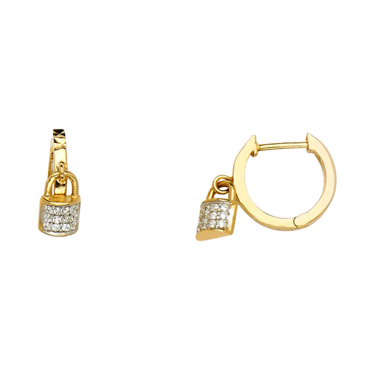 14K Gold 3mm Lock CZ Stone Huggie Hoops