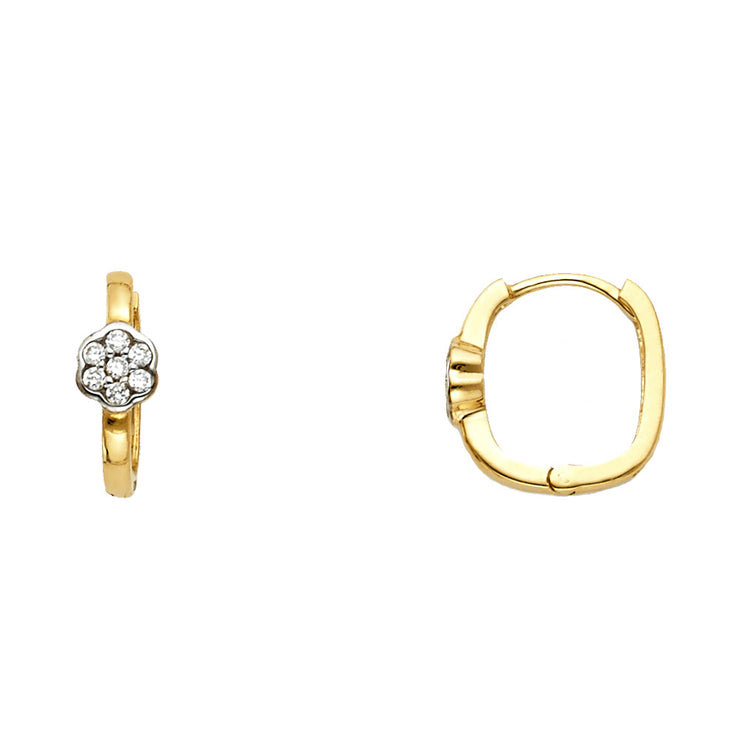 14K Gold 4mm Flower CZ Stone Huggie Hoops