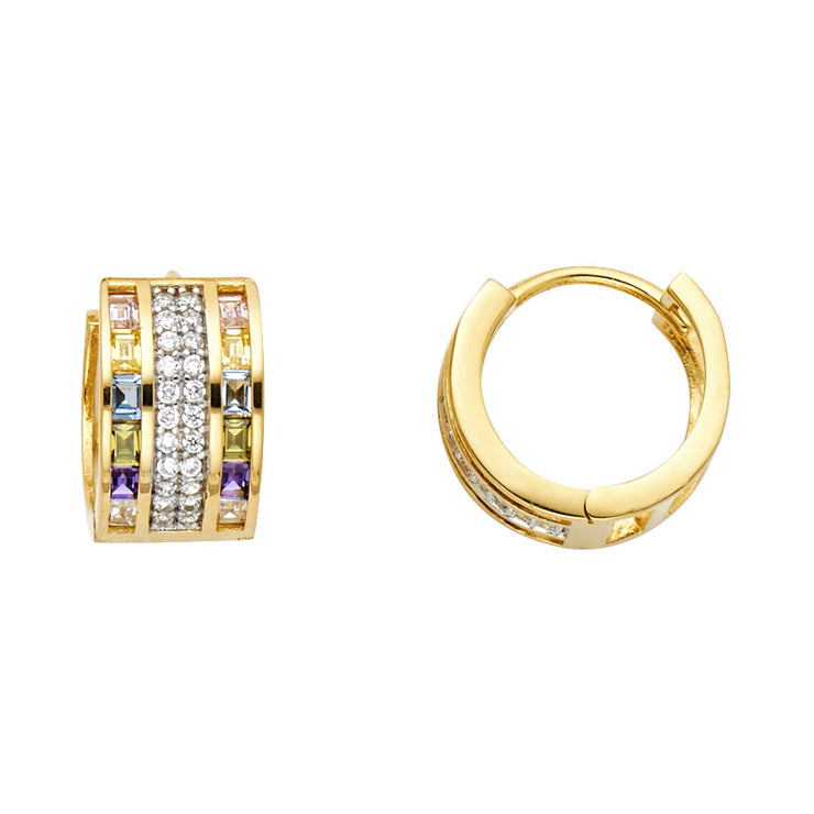 14K Gold 7mm  CZ Stone Huggie Hoops