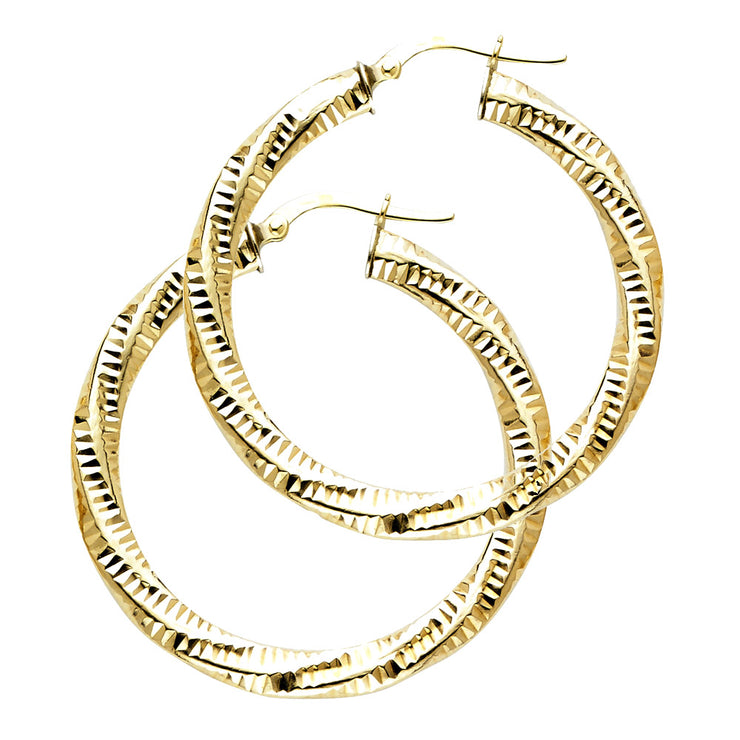 14K Gold 2.5mm Diamond Cut Hoops