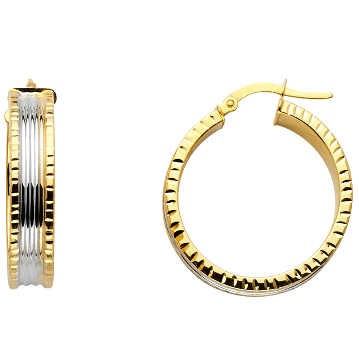 14K Gold 6mm Diamond Cut Hoops