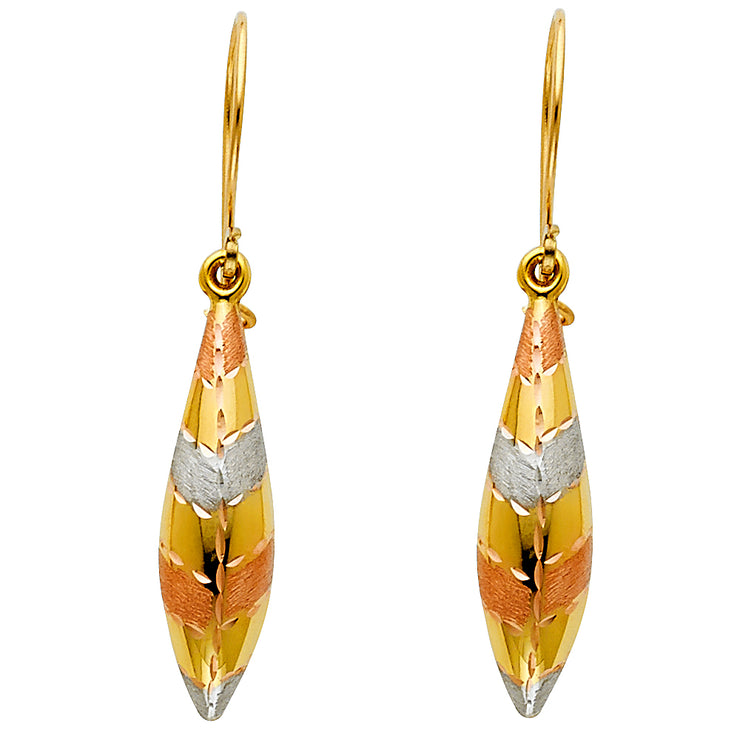 14K Gold Hollow Hanging Earrings