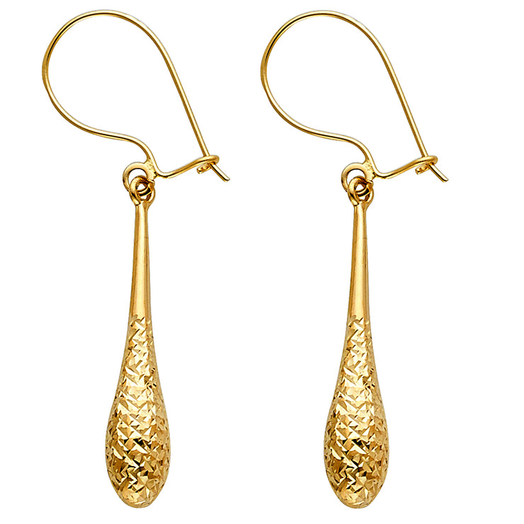 14K Gold Diamond Cut Hollow Teardrop Hanging Earrings