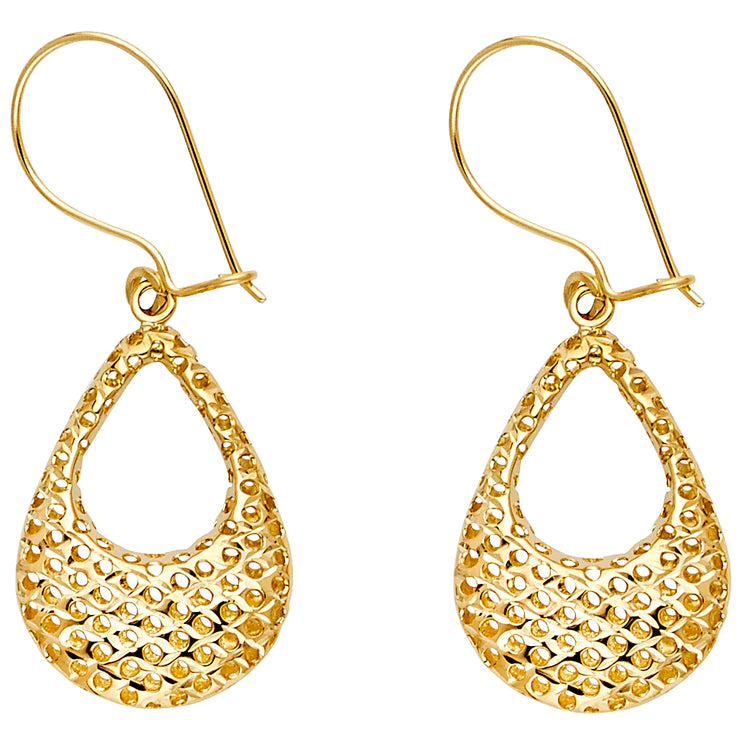 14K Gold Hollow Perforated Hanging Earrings