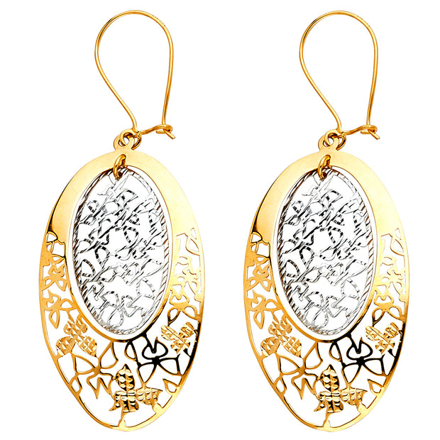 14K Gold Butterfly Cut Out Oval Earrings