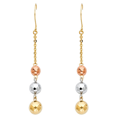 14K Gold 3 Disco Ball Hanging Earrings