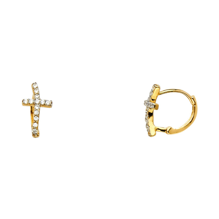 14K Y Curved CZ Stone Cross Huggie Hoops