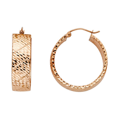 14K Pink Rose Gold Hollow Wide Full Diamond Cut Hoops