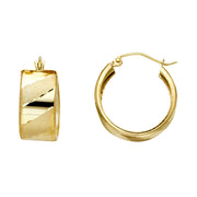 14K Gold ST Wide Diagonal Diamond Cut Hoops