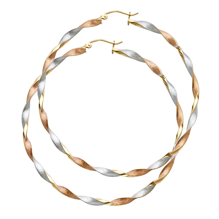 14K Gold Curled Hollow Hoops