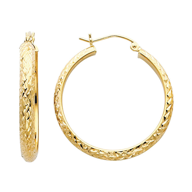14K Gold 3.5mm Diamond Cut Hoops