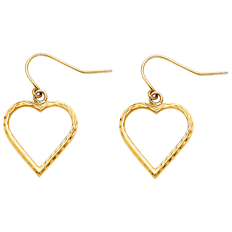 14K Gold Thin Heart Hollow Hanging Earrings