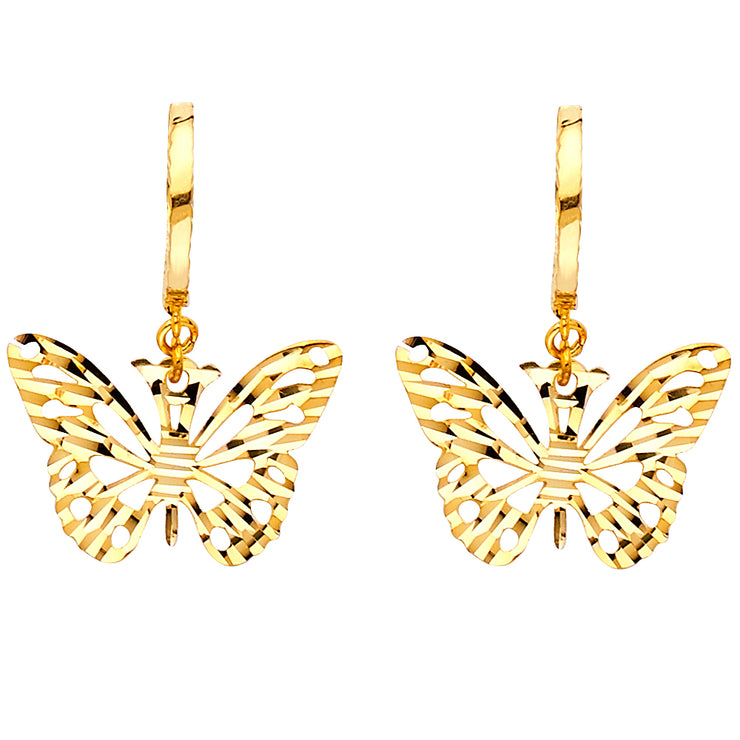 14K Gold Diamond Cut Butterfly Hanging Earrings