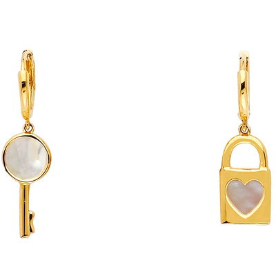 14K Gold Key & Lock Hanging Earrings