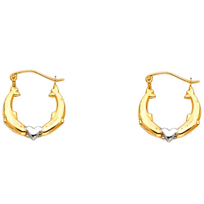 14K 2C Dolphin Hollow Hoops