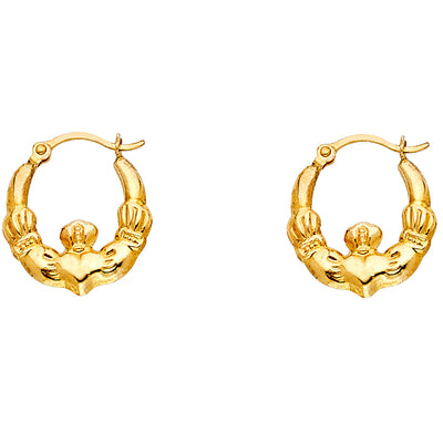14K Gold Claddagh Hollow Hoops