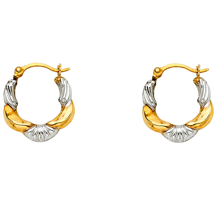 14K Gold Fancy Hollow Hoops