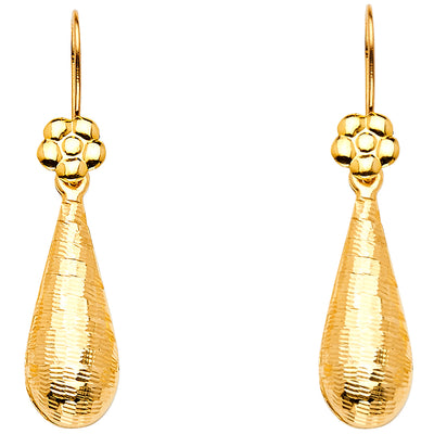 14K Gold Hollow Teardrop Hanging Earrings