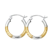 14K Gold 2mm Diamond Cut Satin Hoops