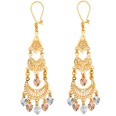 14K Gold Diamond Cut Chandelier Hanging Earrings