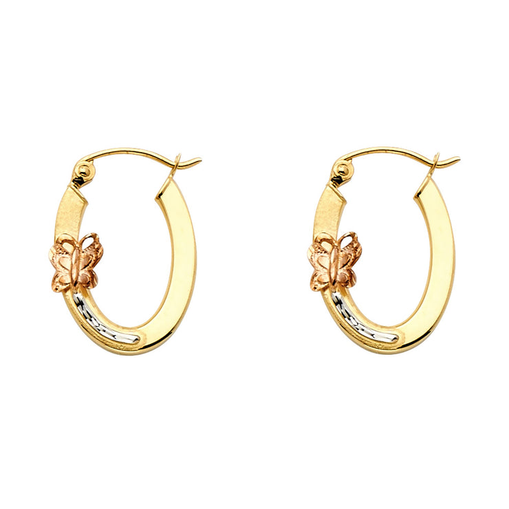 14K Gold Butterfly Oval Hoops