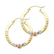 14K Gold Flower Square Hoops