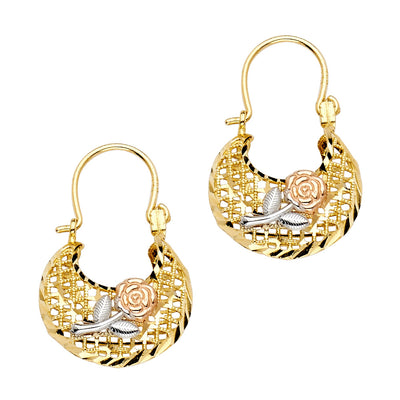 14K Gold Flower Basket Earrings