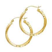 14K Gold 2.6mm Diamond Cut Satin Hoops