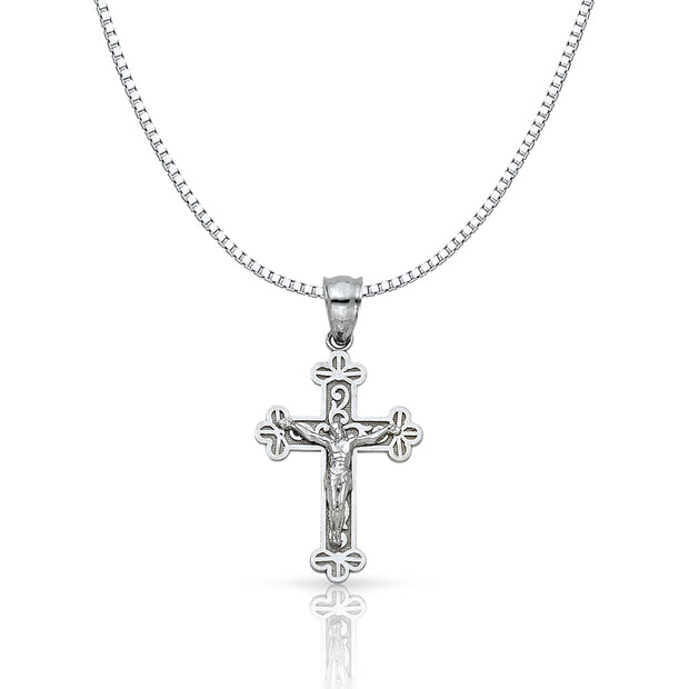 14K Gold Jesus Crucifix Cross Religious Charm Pendant with 1mm Box Chain Necklace