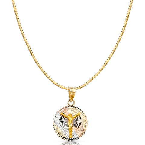 14K Gold Diamond Cut Jesus Stamp Religious Charm Pendant with 0.8mm Box Chain Necklace