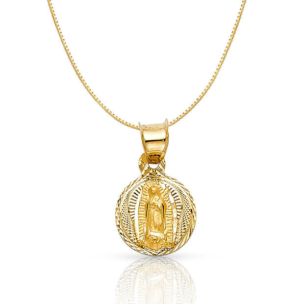 14K Gold Diamond Cut Guadalupe Stamp Religious Charm Pendant with 0.6mm Box Chain Necklace