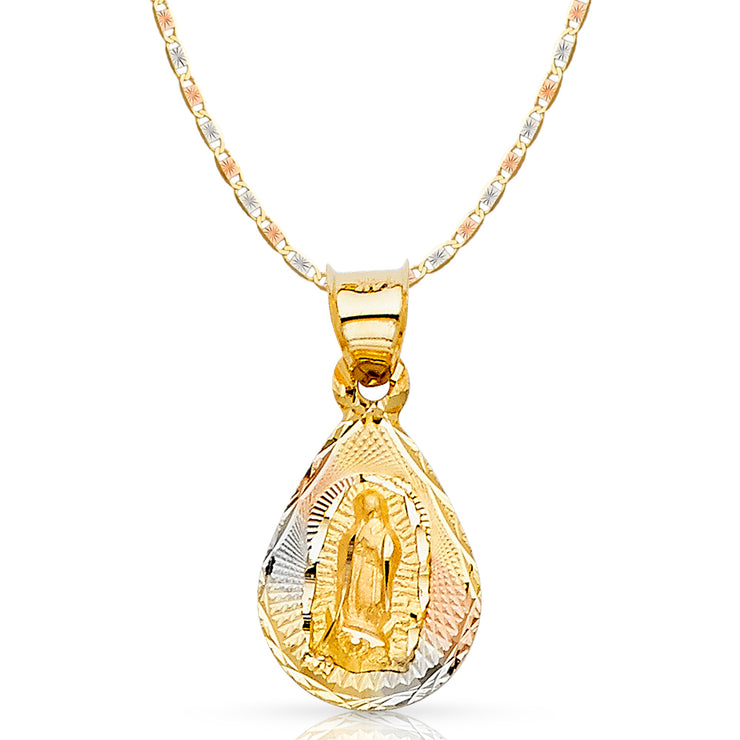 14K Gold Guadalupe Stamp Pendant with 1.5mm Valentino Chain