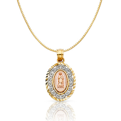 14K Gold Religious Guadalupe Charm Pendant with 0.8mm Box Chain Necklace
