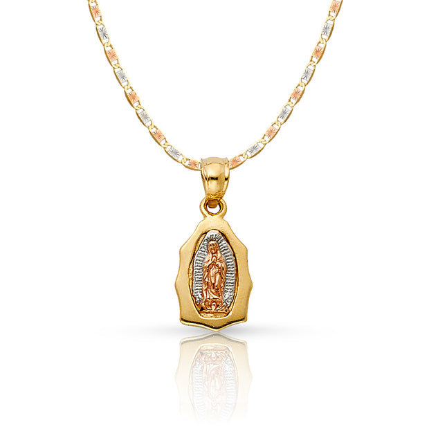 14K Gold Guadalupe Pendant with 1.5mm Valentino Chain