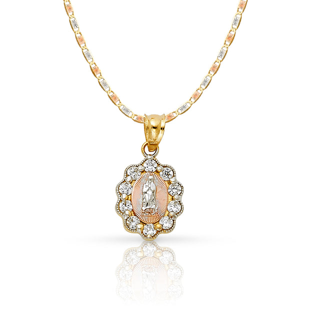 14K Gold Guadalupe CZ Pendant with 1.5mm Valentino Chain