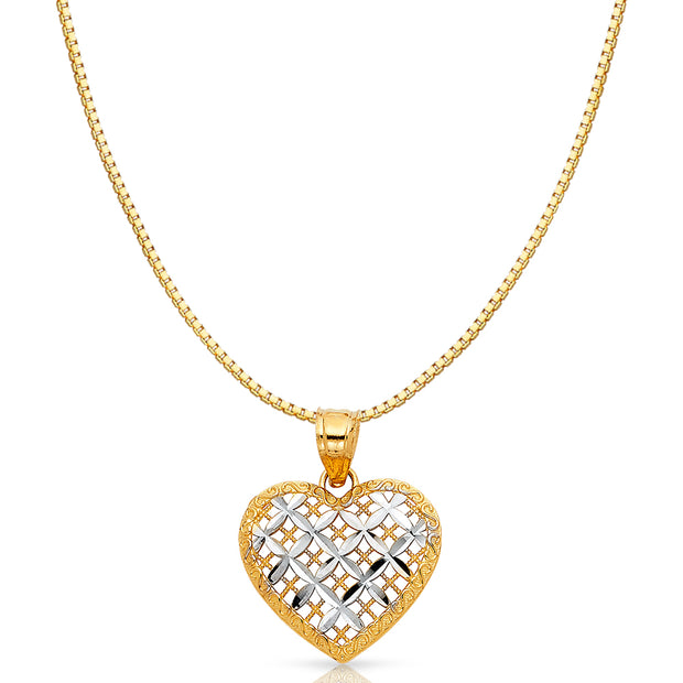 14K Gold Fancy Checkered Heart Charm Pendant with 0.8mm Box Chain Necklace
