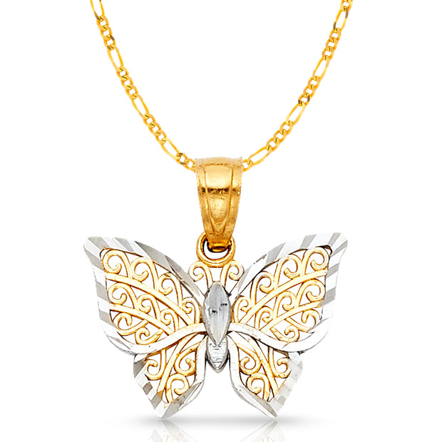 14K Gold Butterfly Pendant with 1.6mm Figaro 3+1 Chain