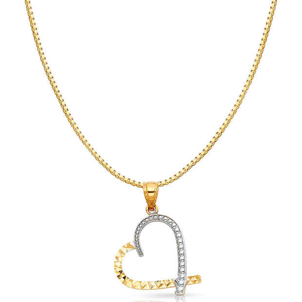 14K Gold Slanted Heart Charm Pendant with 0.8mm Box Chain Necklace