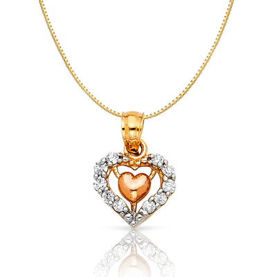 14K Gold CZ Fancy Inside Heart Charm Pendant with 0.8mm Box Chain Necklace