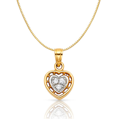 14K Gold CZ Inside Heart Charm Pendant with 0.8mm Box Chain Necklace