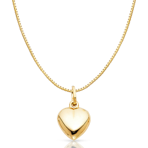 14K Gold Plain Heart Charm Pendant with 0.8mm Box Chain Necklace