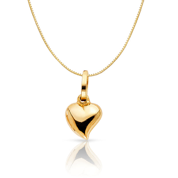 14K Gold Plain Heart Charm Pendant with 0.6mm Box Chain Necklace