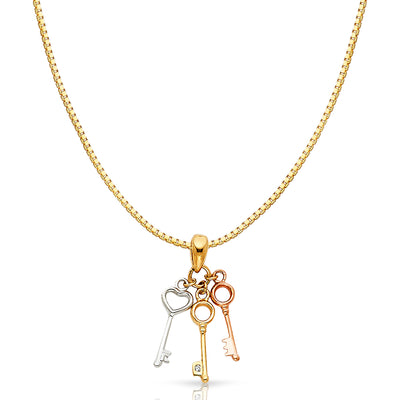 14K Gold Key to My 3 Triple Variety Key Charm Pendant with 0.8mm Box Chain Necklace