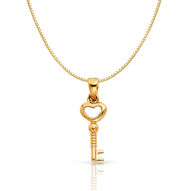 14K Gold Heart Key Charm Pendant with 0.8mm Box Chain Necklace