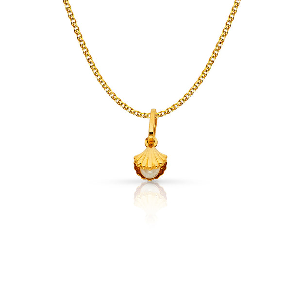 14K Gold Clam Shell with Pearl Charm Pendant with 1.2mm Flat Open Wheat Chain Necklace