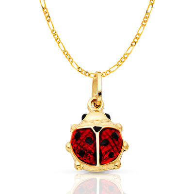 14K Gold Lady Bug Enamel Lucky Charm Pendant with 2mm Figaro 3+1 Chain Necklace