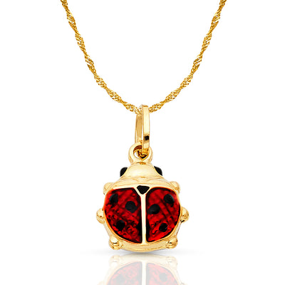 14K Gold Lady Bug Enamel Lucky Charm Pendant with 1.2mm Singapore Chain Necklace