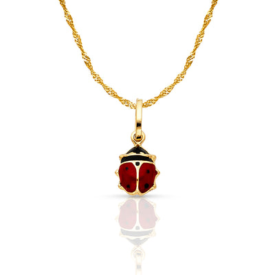 14K Gold Lady Bug Enamel Lucky Charm Pendant with 0.9mm Singapore Chain Necklace
